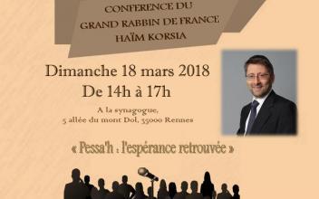 Visite du Grand Rabbin de France Haïm KORSIA 18 mars 2018