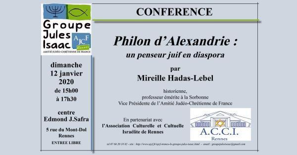 Philon d'Alexandrie, un penseur juif en Diaspora - dimanche 12 janvier 2020