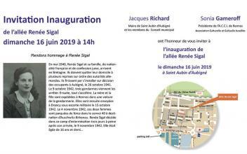 Inauguration de l'allée Renée Sigal le 16 Juin 2019 à Saint Aubin d'Aubigné