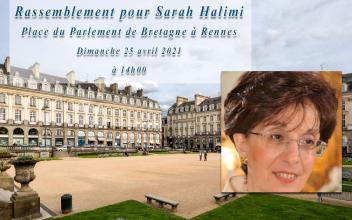 Affaire SARAH HALIMI z'l, rassemblement Place du Parlement de Bretagne dimanche 25 avril 2021 à 14h00
